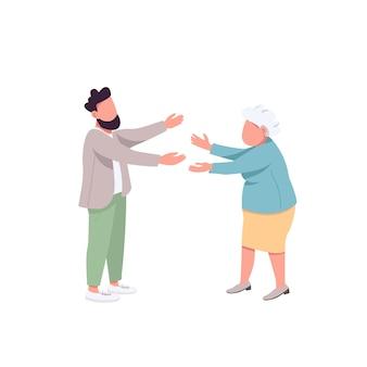 Старая мать со взрослым сыном плоские цветные безликие персонажи