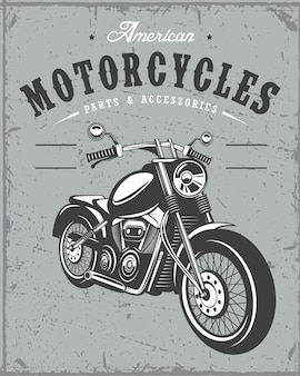 グランジ背景の古いオートバイのバナー
