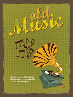 Old music annoucement vintage style vector illustration