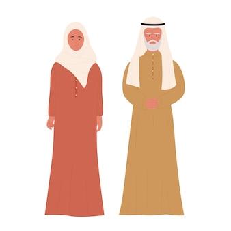 一緒に立っている古いイスラム教徒のカップルの人々アラブの高齢者の家族のキャラクター