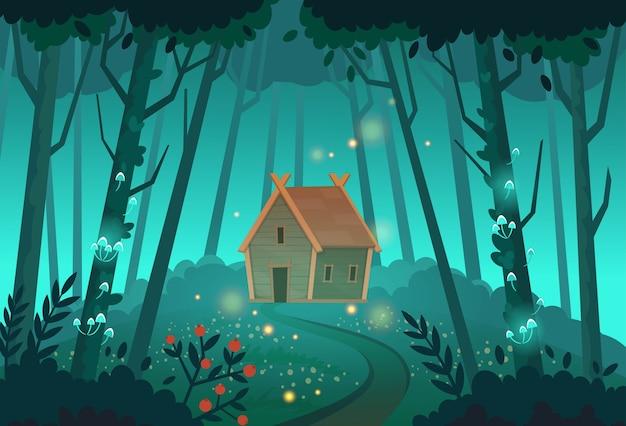 숲에서 오래 된 신비한 마녀 오두막입니다. 만화 그림.