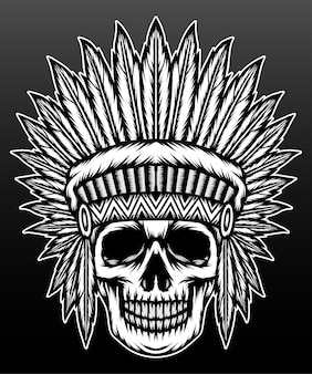 黒で分離された古いネイティブアメリカンの頭蓋骨