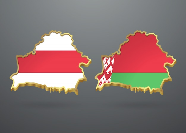 Old and new flags of belarus in the form of a map of the republic.