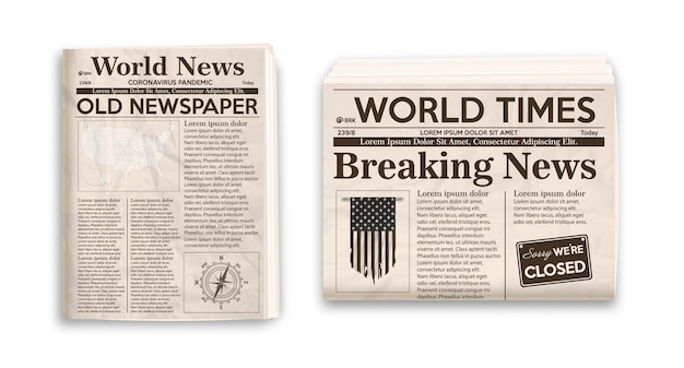 Old newspaper layout vertical and horizontal mockup of newspapers