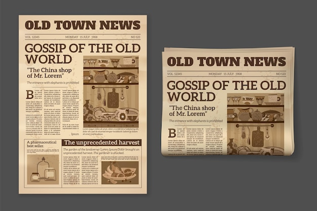 Old newspaper. vintage magazine front page mockup. two realistic monochrome pages templates, historical sepia sheet of journal, daily news and advertising vector retro concept