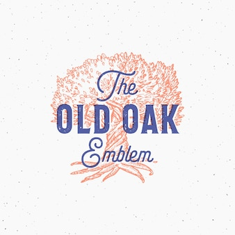 Old oak abstract  sign, symbol or logo template.