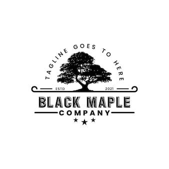 Старый дуб клен силуэт дизайн логотипа