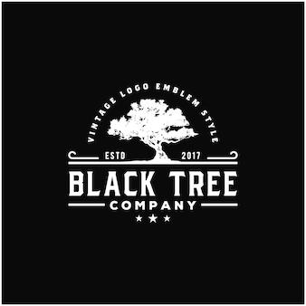 Old oak maple tree silhouette. residential landscape vintage logo