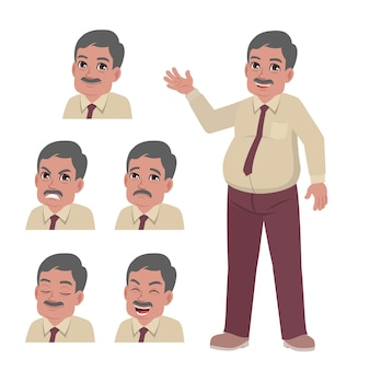 Old office man in suits with set of face expression
