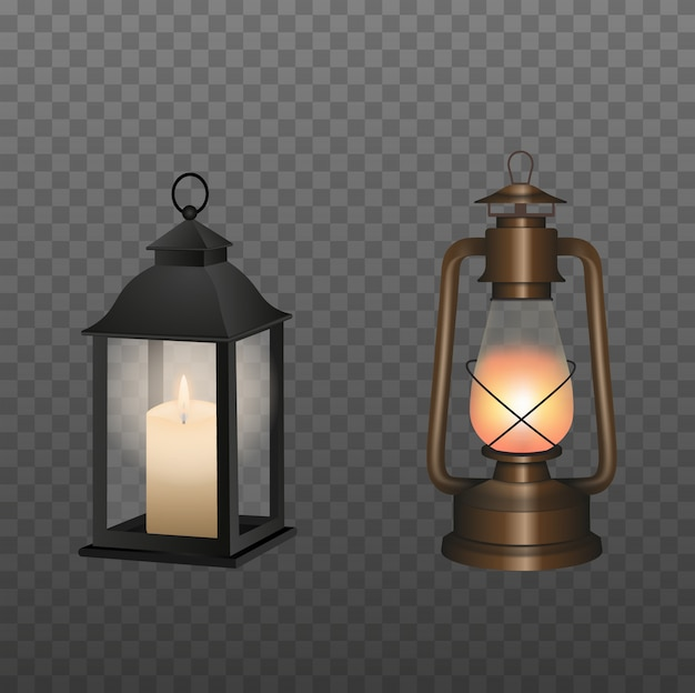 Old oil lamp and lantern