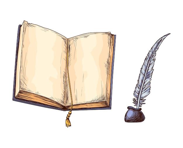 古い開いた本とインク壺の羽。教育と知恵の概念