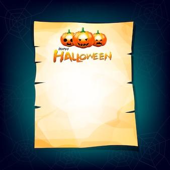 Old paper halloween pumkin on paper head