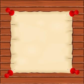 Старая бумага на деревянном фоне