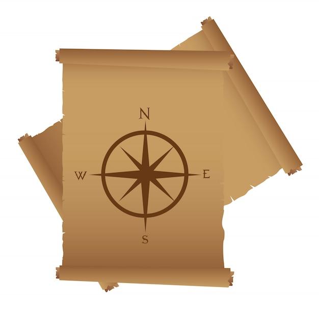 Старый пергамент с компасом розы векторной иллюстрации