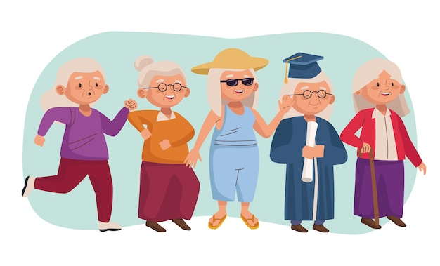 Old people active seniors characters