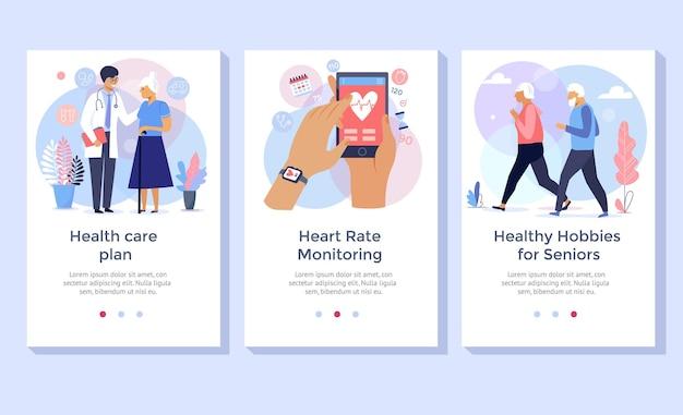 Набор иллюстраций концепции ухода за пожилыми людьми, идеально подходит для баннера, мобильного приложения, целевой страницы
