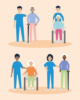 Old people caregivers icon set