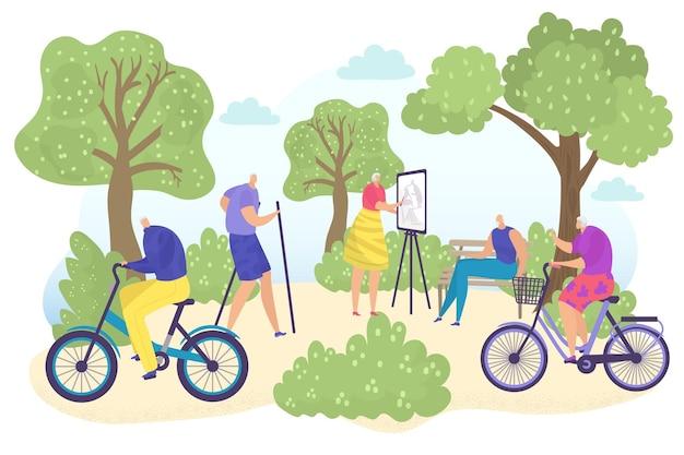 高齢者のキャラクターが一緒に屋外の庭の場所を歩く身体活動運動シニアフラットベクト...