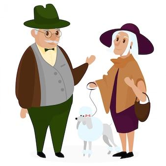 노인은 강아지 푸들과 커플. 행복 한 조부모는 함께 격리. 할아버지와 할머니. 노인 노인 커플입니다. 만화 벡터 일러스트 레이 션.