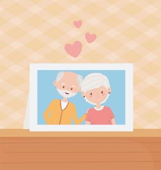 노인, 귀여운 커플 조부모 사진 프레임 테이블