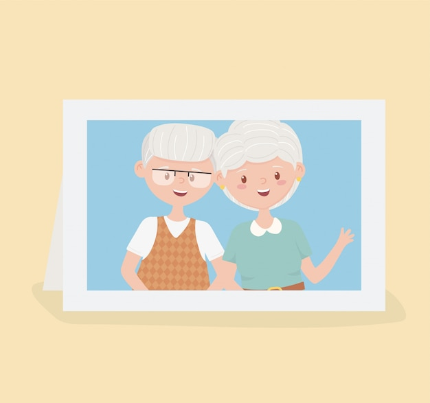 Old people, cute couple grandparents in photo frame