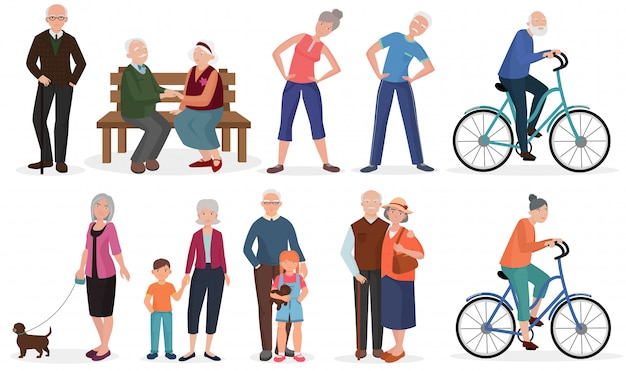 Old people in different activities set