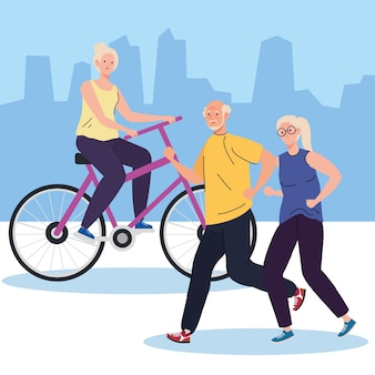 Old people doing different activities and hobbies outdoor illustration
