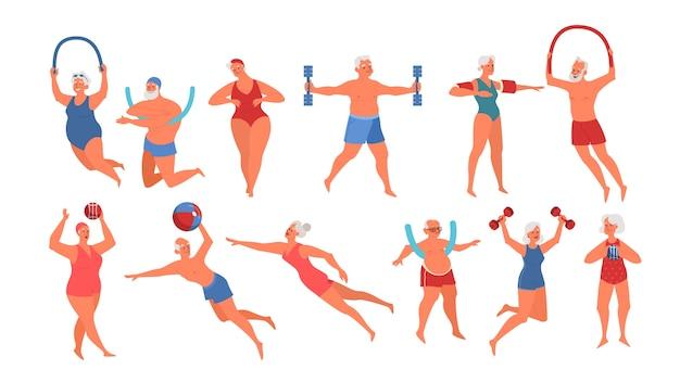 スイミングプールの機器で運動をしている高齢者。高齢者のキャラクターはアクティブな生活をしています。水の先輩。