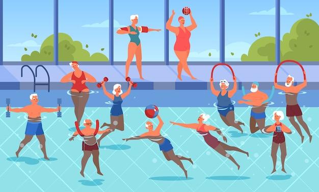 Старики делают упражнения с мячом и гантелями в бассейне. пожилой характер ведет активный образ жизни. старший в воде. иллюстрация