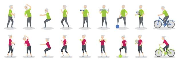 Старые люди делая спорт с оборудованием на белизне.