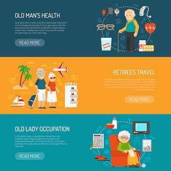 Old  people flat horizontal banners set