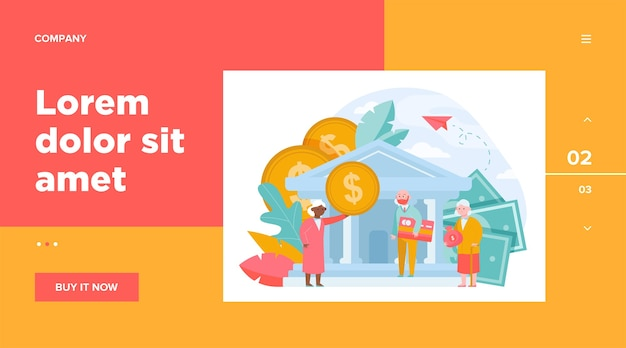 Old people getting pension payment. senior man and woman with money and credit card standing near bank. finance, saving concept for website design or landing web page