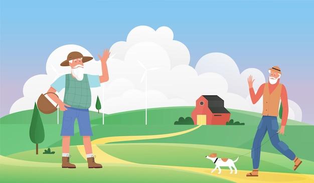 Пожилые люди приветствуют пожилых людей, сельские жители приветствуют и машут владельцем домашнего животного, выгуливающим собаку
