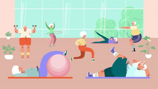 Old people group doing exercises in gym,  illustration. healthy activity for senior man woman character, sport and fitness