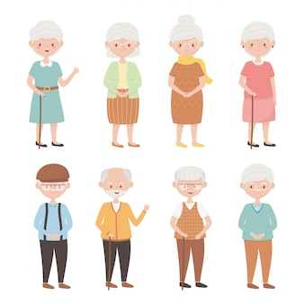 Old people, group of grandparents, grandmothers grandfathers, mature senior persons cartoon characters