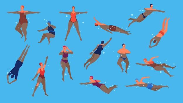 Набор пожилых людей в бассейне. пожилой характер ведет активный образ жизни. старший в воде. иллюстрация