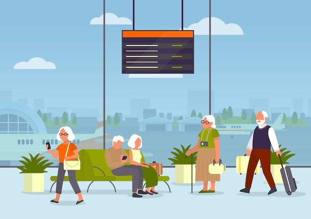 Старики в аэропорту. идея путешествий и туризма. идея путешествия и отдыха. прибытие самолета. пассажир с багажом.
