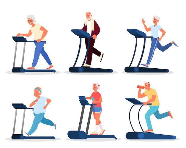 Старики в спортзале. тренировка пожилых людей на беговой дорожке. фитнес-программа для пожилых людей. концепция здорового образа жизни. стиль