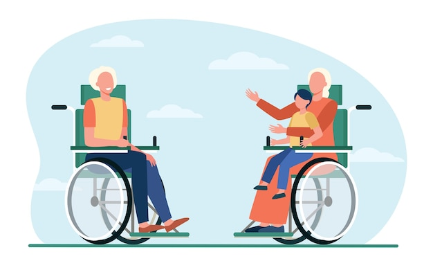 Старые люди в инвалидной коляске, держа ребенка и разговаривая. пенсия, ребенок, бабушка и дедушка плоские векторные иллюстрации. генерация и общение
