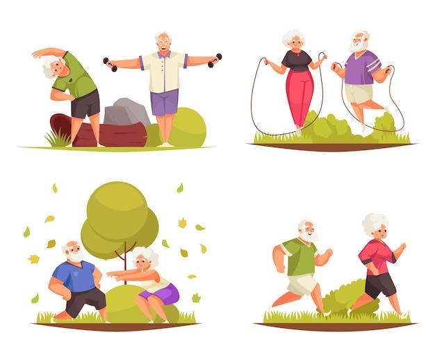 Старые люди на открытом воздухе фитнес-деятельность 4 мультяшных композиции с бегом, прыжками со скакалкой, упражнениями для пар
