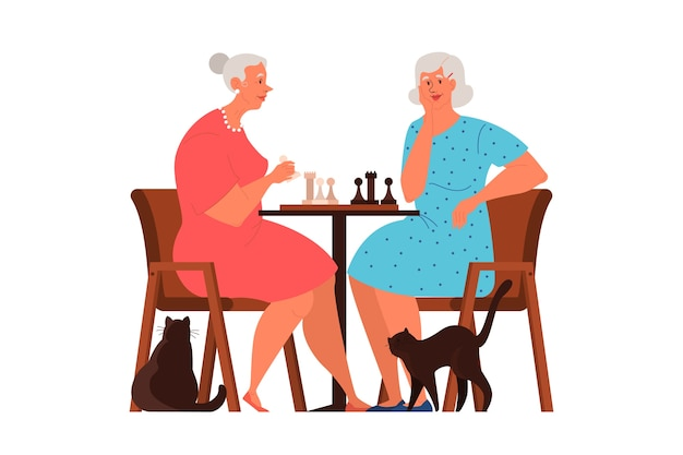 Old people play ches. elderly peope sitting at the table with chessboard. chess tournament between two old women.