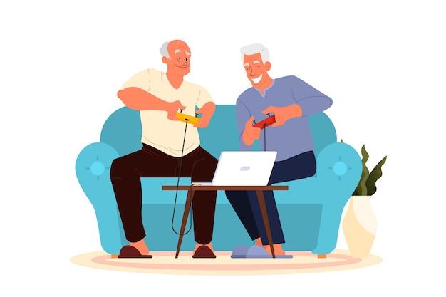 老人がビデオゲームをしている。コンソールコントローラーでビデオゲームをプレイする高齢者。高齢者のキャラクターは現代生活を送っています。