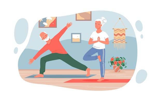 Старые люди занимаются йогой, спортивные упражнения дома, милые забавные активные пожилые пары персонажей йоги