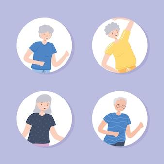 운동을 하는 노인들