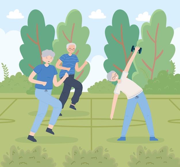 運動をしている老人