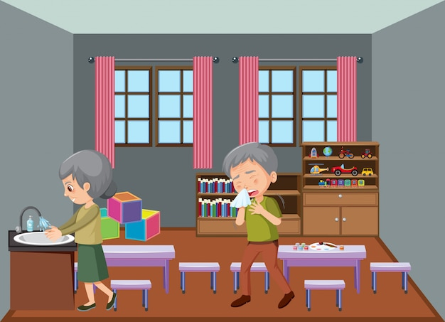 Старые люди сидят дома