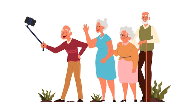 一緒にセルフィーを取る老人たち。高齢者のキャラクターが自分の写真を撮る。老人生活。アクティブな社会生活を送る高齢者。