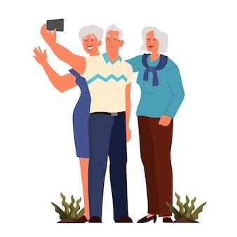 一緒にセルフィーを取る老人たち。高齢者のキャラクターが自分の写真を撮る。老人のライフスタイルのコンセプト。アクティブな社会生活を送る高齢者。