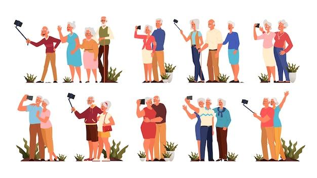 一緒にselfieを取っている古い人。高齢者のキャラクターが自分の写真を撮る。老人生活のコンセプト。アクティブな社会生活を送る高齢者。スタイル
