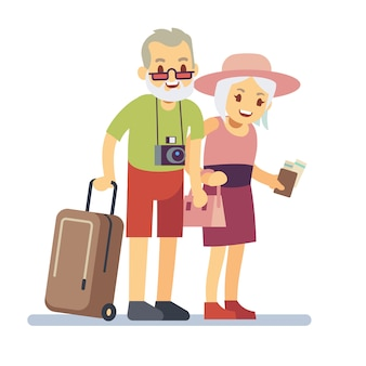 Old people travelers on holiday. smiling grandparents on vacation. happy elderly veteran traveling vector concept. old travel man and woman, grandparents with luggage to vacation illustration